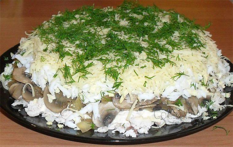 Салаты с грибами сыром и курицей с пошагово