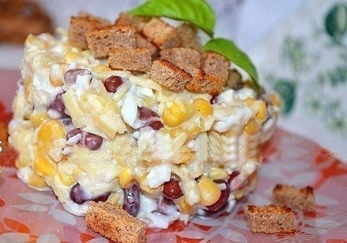 Салат фасолевый с кукурузой